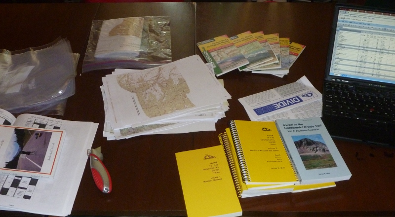 Guidebooks, maps, laptop (with resupply plan) - berfore the cutting begins